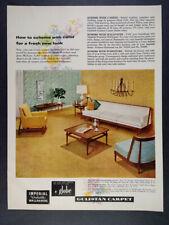 1957 Gulistan Carpet Globe Debonaire Furniture Sofa Chair vintage print Ad