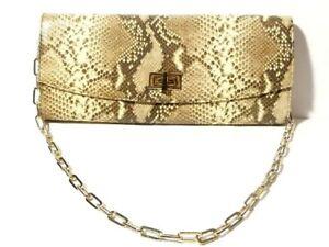 Vintage ARTIGIANO Italy Faux Snake Skin Leather Gilt Chain Clutch Bag Purse