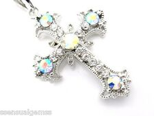 Cross Pendant Women's W Swarovki Clear Crystal Necklace Silver Plated New