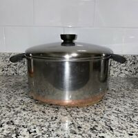 1801 Revere Ware 7 Qt Stock Pot Stainless Steel Copper Bottom Lid Vintage Pan.