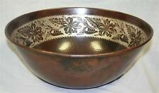 """14"""" Round Hammered Copper Mexican Vessel Sink with Silver Overlay"""