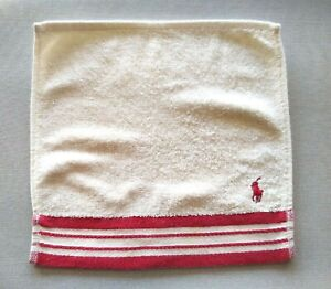 Ralph Lauren Small Face Towel Flannel Wash Cloth Designer Beige Striped Pony VGC
