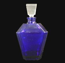 """Guerlain """"Jicky"""" Cobalt Blue Glass Perfume Bottle Clear Stopper Rare France"""