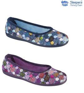 Ladies Sleeper Memory Foam Ballerina Velour Slippers Size 3,4,5,6,7,8 UK