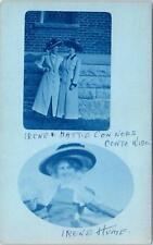 RPPC  OCONTO, WI   CYANOTYPE of Irene & Hattie  Conners   c1910s      Postcard