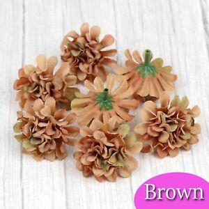 12/120Pcs Brown Artificial Silk Hydrangea Flower Heads Wedding Fake flower Decor