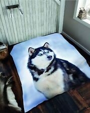 Double 3d Husky Blanket Animal Soft Printed Fleece Sofa Couch Throw Bedroom