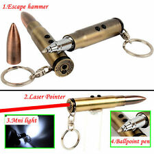 Camping Bullet Shaped Pen Keychain Survival EDC Laser+Light+Hammer+Ballpoint US
