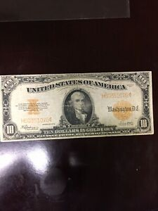 1922 $10 Ten Dollar Gold Currency Paper Money Large Note