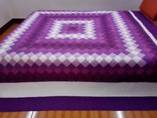 New King  size  machine pieced and quilted  Patchwork quilt / #NJ-87