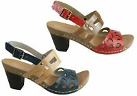 NEW ANDACCO AMERILA WOMENS LEATHER COMFORT MID HEEL SANDALS MADE IN BRAZIL