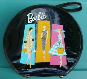Vintage Old 1961 Mattel Ponytail Barbie Doll HATBOX-Suitcase Black Vinyl CASE