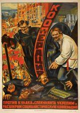 Russian Propaganda Poster COOPERATIVES Soviet Union Communist Lenin Stalin