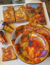 Lot 10 Pkgs. THANKSGIVING PAPER DINNER PLATES CUPS TABLECLOTH NAPKINS ~TURKEY