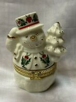 "Baum Bros Formalities Hinged Snowman Trinket Box Ivory Gold Collection 4"" H"