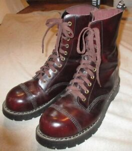 EUC GRINDERS MADE ENGLAND LEATHER STEEL TOE COMBAT MILITARY BOOTS  10 EYELET 10M