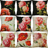 "18"" Peony Flower Print Cotton Linen Pillow Cases Cushion Cover Home Decor"