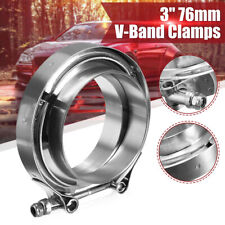 """Stainless Steel 3"""" 76mm Inch V-band Clamp Turbo Downpipe Female Male Flange Kits"""
