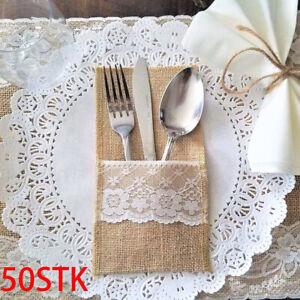 50stk Jute Bestecktaschen Besteckservietten Besteckset Hochzeit Deko Willkommen