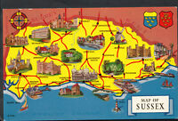 Maps Postcard - Map of Sussex and The English Channel  RS1879