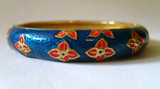 ROUND ENAMEL BANGLE WITH SPRING CLASP OPENING - BLUE/RED FLORAL IN GIFT BOX