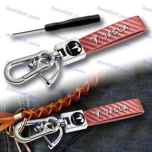 Gift Decoration Leather Keychain Lanyard Quick Release Key Chain For ALL TESLA