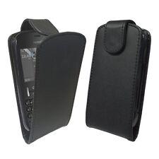 Nokia Asha 200 - 201 / elegante caso flip cuero negro / Nuevo