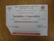 01/08/1995 Cricket Ticket: Yorkshire v Lancashire [Nat West Trophy] (corner trim
