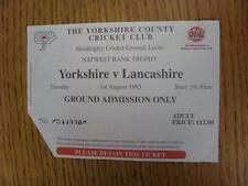 01/08/1995 Cricket Ticket: Yorkshire v Lancashire [Nat West Trophy] (corner trim