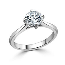 1.00 Ct Round Cut Diamond Engagement Ring Real 14K Solid White Gold Size M P O
