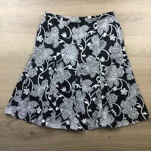 Ann Taylor Black White Floral A Line Godet Skirt Size 10