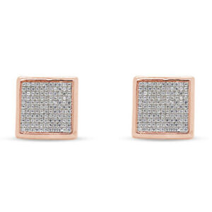 10K Rose Gold Over Simulated Round Square Cluster Stud Earrings For Men's