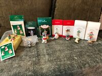 Lot of 7 Hallmark Miniature Snowman Ornaments