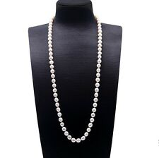 9-10mm White Cultured Oval Shape Freshwater Real Pearl Long Necklace 32""