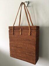 Handbag: woven rattan- type brown bag with woven trim & straps