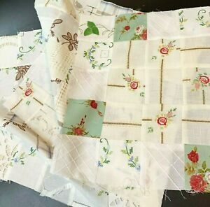 3x Vintage Fabrics & Embroidery Patchwork Panels, Each Different Quilt Sew Craft