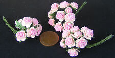 1:12 Scale 3 Bunches (30 Flowers) Of Pink Paper Roses Tumdee Dolls House E
