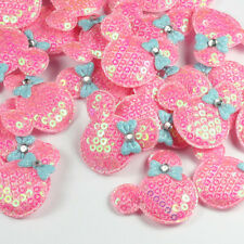 ON SALE 10pcs Padded Sequin Minnie Mouse Appliques Embellishment Trim Sewing
