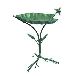 Emerald Green Tropical Leaf 12 x 22 metal Decorative Outdoor Birdbath