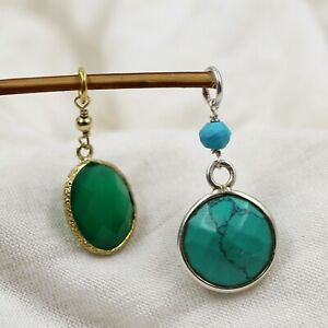 Turquoise & Green Onyx Combo Pendant Set 925 Sterling Silver Pendants