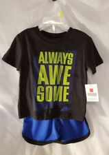 Boys T Shirt Shortd ProPlayer Infant ALWAYS AWESOME 12 M New Black Blue Neon NWT