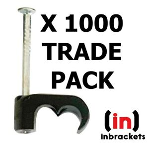 TWIN SATELLITE CABLE CLIPS SKY CT63 WF65 SHOTGUN DOUBLE X 1000 TRADE PACK BLACK