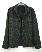 Goodman Brand Mens Gray Houndstooth Coat Wool Flat Collar Patch Pockets L