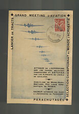 1947 Saumur France postcard Cover Aviaton Meeting Air Club Parachutes