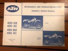 Manuel d'entretien et utilisation usine KTM vintage 420 cm3 1982 - moteur 495 MX