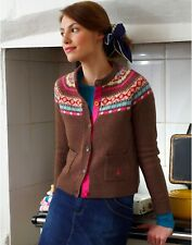 Joules Appleby Festival Fairisle Cardigan Brown Pink Cottagecore Size 8/10