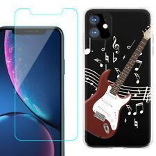TPU Case for Apple iPhone 11 + Tempered Glass - Guitar Red