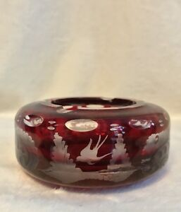 """Vintage EGERMANN RUBY RED Bohemian Czech Art Glass - 4"""" ASHTRAY , #2"""