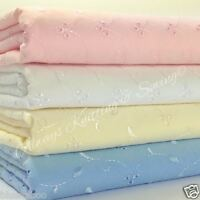 PER HALF METRE  polycotton Broderie anglais fabric pink blue white & cream