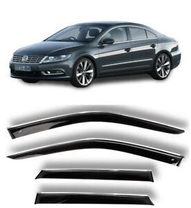 Chrome Trim Side Window Visors Guard Vent Deflectors For VW Passat СС 2008-2017